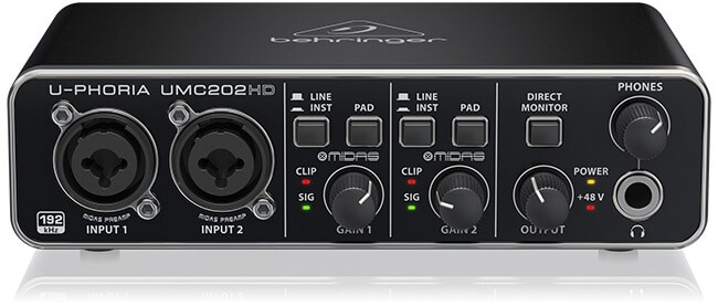 Behringer U-Phoria UMC202HD audio interface (front panel)