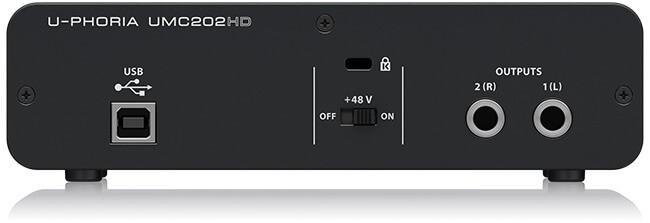 Behringer UMC202HD audio interface (back panel)