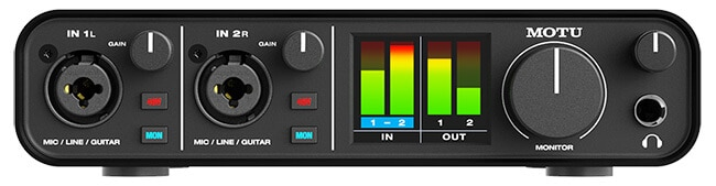 Motu M2 audio interface (front panel)