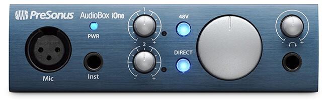 PreSonus AudioBox iOne audio interface (front panel)